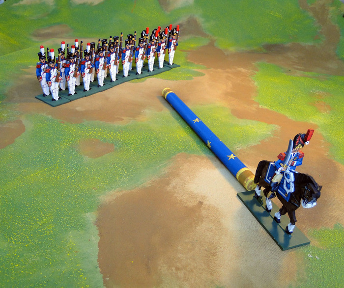 An infantry unit with mounted officer advances one baton.