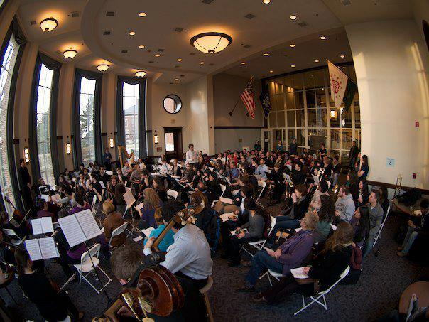 Orchestra performs at a business school