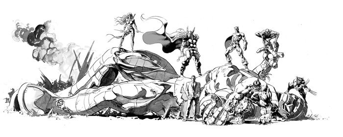 "NEW REWARD!  The MARVEL ART OF MIKE DEODATO, JR. 11"" x 34"" original art that's part of the new $4,000.00 level."