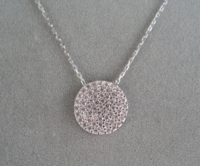 "$100+ donation: hand-set pave CZ disc necklace on 16"" sterling silver chain"