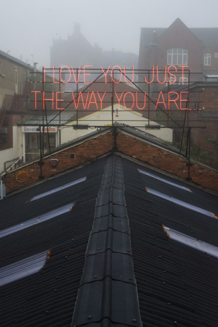 Neon artwork by Victoria Lucas and Richard Wheater on Neon Workshop's rooftop platform.