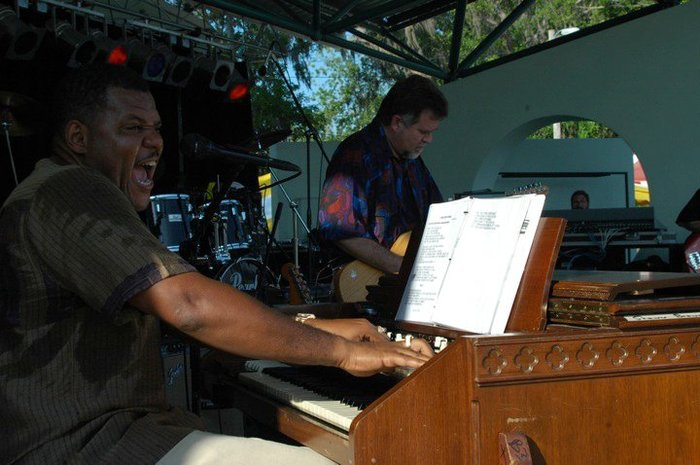 New Port Richey, FL - Organist Shawn Brown sings and plays at Blues Festival.