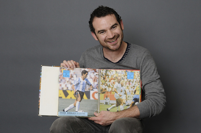 Justin and his 1990 World Cup sticker collecting book. He's twelve again.