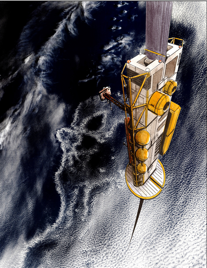 Space Elevator Rising Over the Ocean