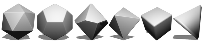 C20, C12, C10, C8, C6, C4 - Crystals with their number of facets.