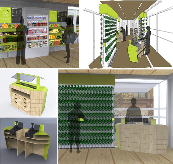 Interior shots of the Farmery and furniture we designed for it.