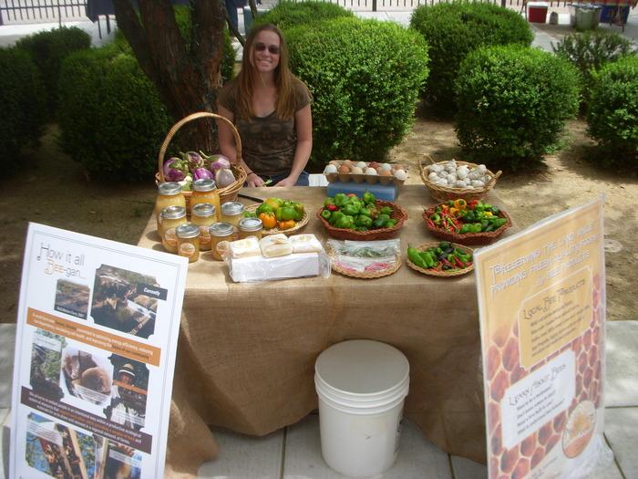 Kara Explains Beekeeping at Farmer's Market