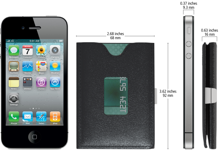 With six cards and cash, the triHOLD is 16mm thick.  (iPhone not included)