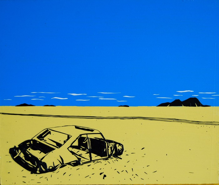"""""""Car in the Sahara Desert"""", black and white electrical tape and acyrlic paint on wood (12""""X10"""")"""