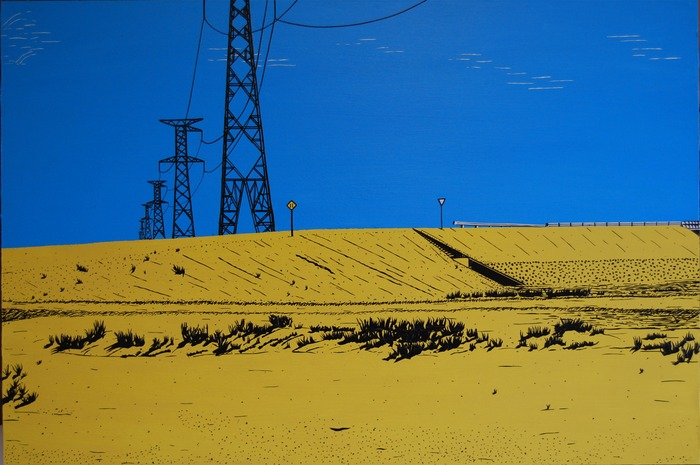 """""""Bolivian Power Lines"""", black and white electrical tape and acyrlic paint on wood (24""""X36"""")"""