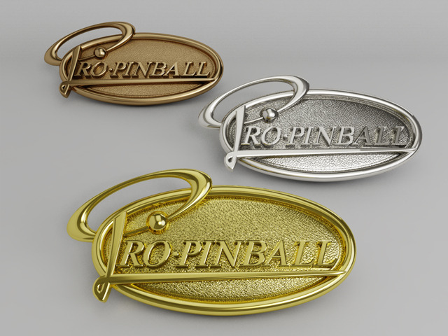 Metal plated Pro Pinball Pin Badges in real Bronze, Silver and Gold (Artist's impression)