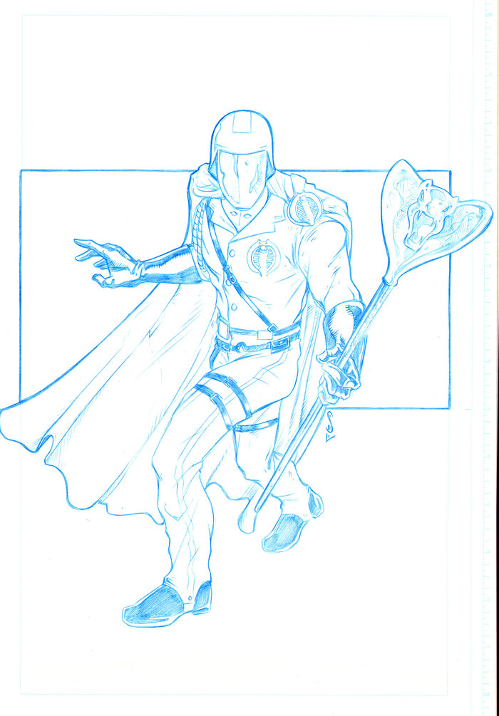 The B and W art for the Cobra Commander print