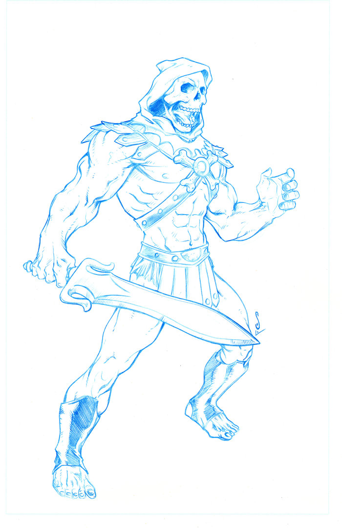 The B and W art for the Skeletor print