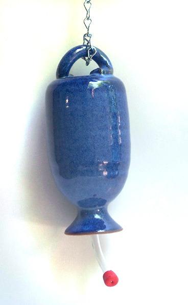 this is the deep blue Wheel thrown hummingbird feeder.