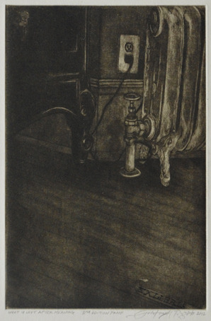 """Johntimothy Pizzuto, What is Left After Meaning, 6"""" x 4"""" Dry-Point Mezzotint"""