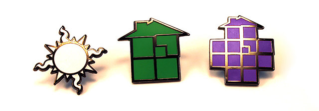 "Set of three 1"" enamel pins - Homestuck Sun, Sburb House, Sgrub House"