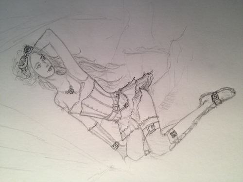 Jen's Sketch for her Steampunk Pin-Up Photo Shoot