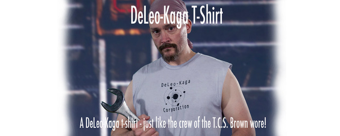 The DeLeo-Kaga t-shirt. Your reward shirt will come with sleeves.