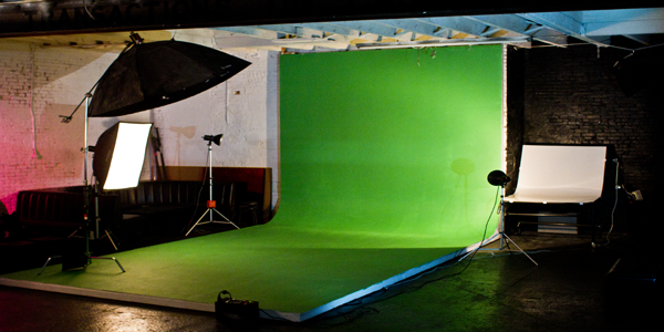 This is the cyc wall with a green screen up. We can do it with a white background or any colored paper!