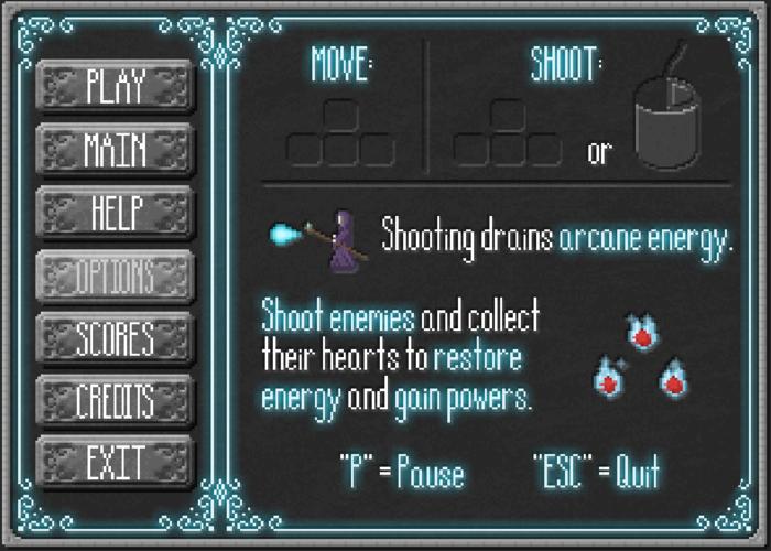 First Draft of the Game Menu Help Screen