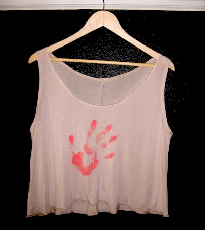 Custom printed CAVEMAN cropped tank top. Chose your handprint color! HT and Lisa's hands are your hands.