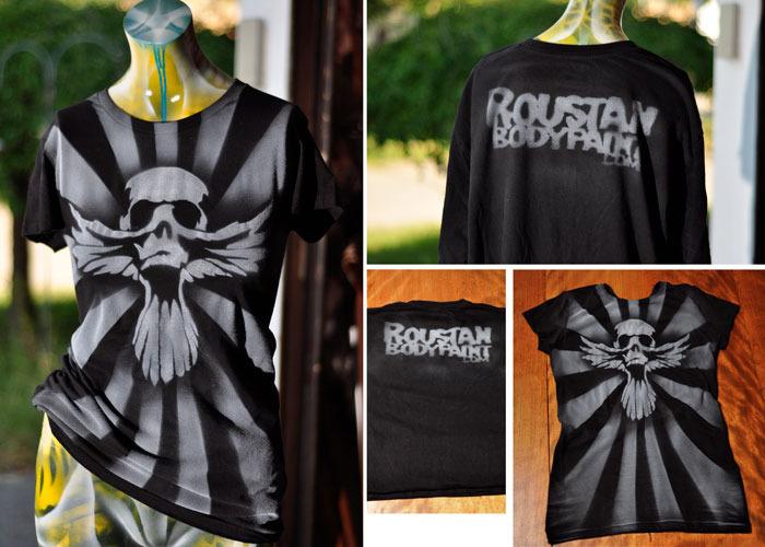 Roustan Body Paint 'Skull Dove' Stencil Airbrush Shirt by Paul Roustan