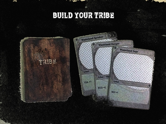 Tribe deck with sample cards drawn