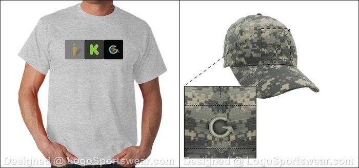 "Sample ""I Kickstarted Geoception"" t-shirt and digital camo Geoception baseball cap"