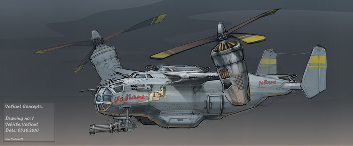 Concept Art of The Valiant, our mercanaries airship & home.