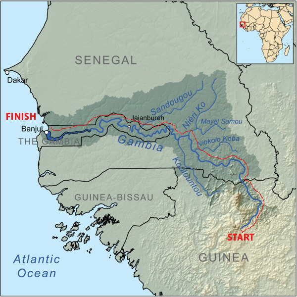 The River Gambia - Route Map