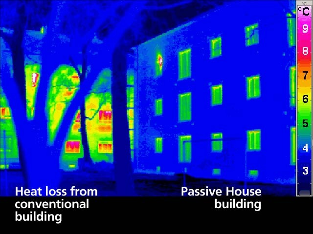 Retrofitted building on the right to meet Passive House standards.