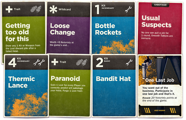Many cards pay homage to great heist movie moments. (Design is not final)