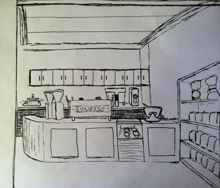 Here is a tentative sketch of our Espresso Bar layout!