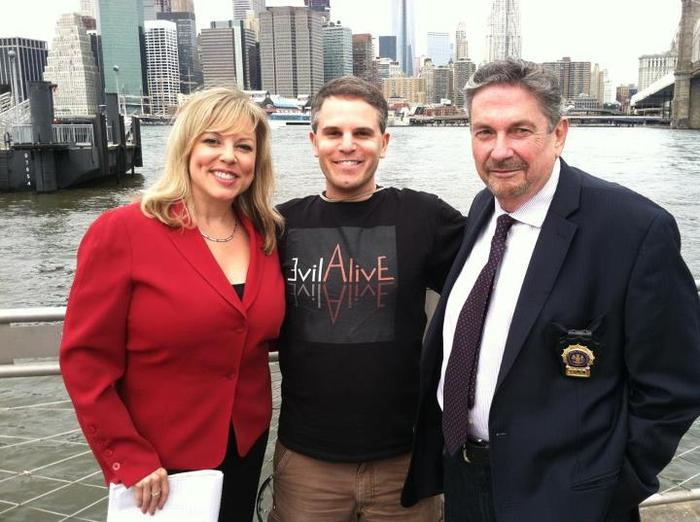The director, Jeremy Wechter, with real-life reporter, Wendy Gillette & retired policeman, Ray Kelly.