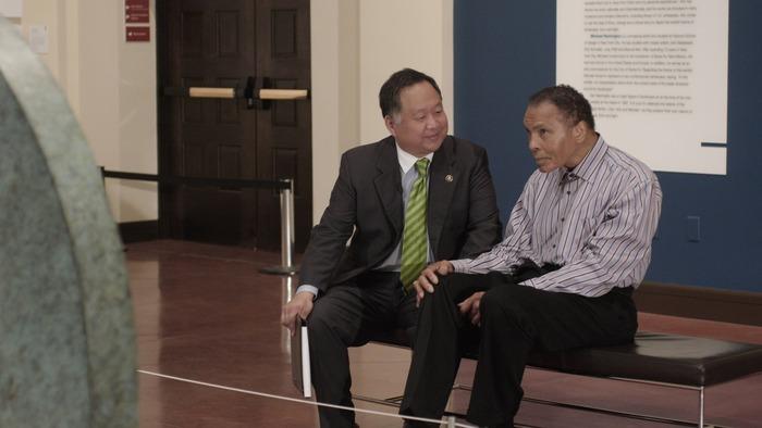 Director Ty Kim and his childhood idol Muhammad Ali on set