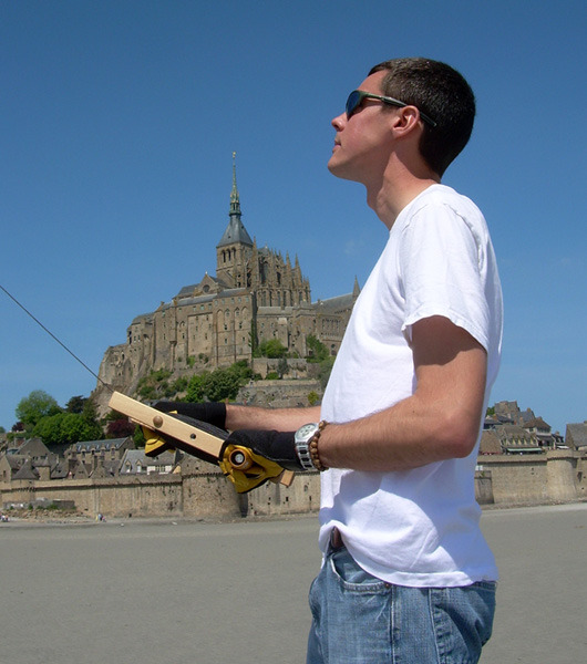 Me flying my kite at Mont Saint Michel in Normandy, France