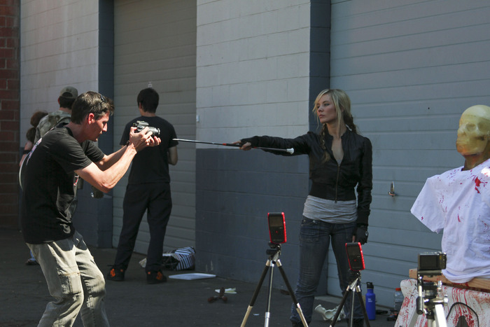 Amy Johnston on set of the Zombie Go BOOM/Beyond DOOMSDAY SuperHero Team Up shoot day