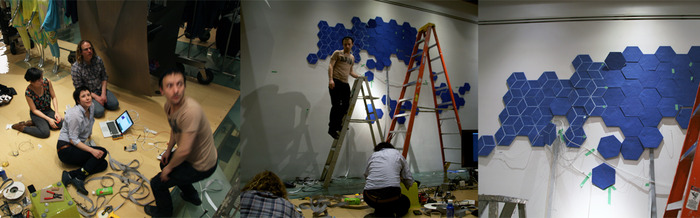 behind the scenes: installing SymbiosisO: Voxel (Sue, Yoni, Alex and I)