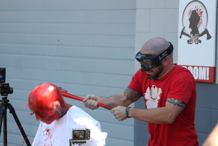 Me (Brian Hillard) smashing a zombie head during the shooting of a Zombie Kills a Zombie Episode of Zombie Go BOOM.  I played the Bloated Well Walker in the episode Cherokee Rose, in Season 2 of The Walking Dead, and the boys thought it may be fun to have