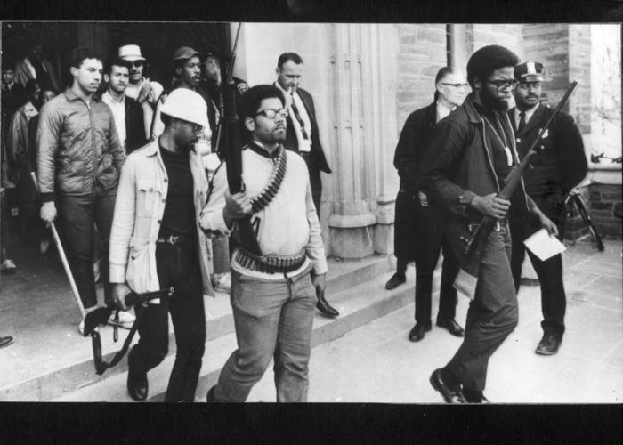 Students exiting Willard Straight Hall. (c) Associated Press, photo by Steve Starr
