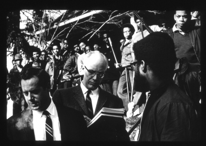 Black students and Cornell administrators sign agreement ending takeover, April 20, 1969. (c) Cornell University