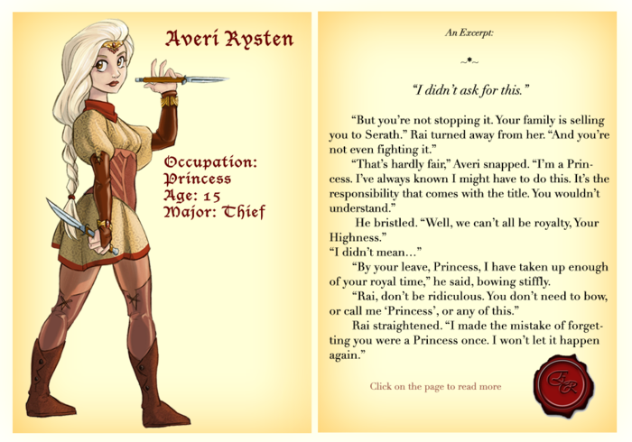Meet Princess Averi, the fourth daughter of the Emperor, who can't stand to stay on the sidelines; as a new first-year, she's determined to become the best in the class, even if that means braving dangerous combat classes and scandalizing the nobility.