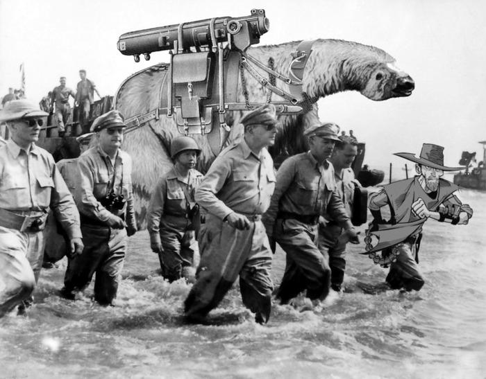 """""""Douglas MacArthur and Samuel Dillon Land on Leyte"""""""