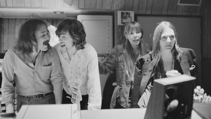 THE STUDIO.  David Crosby, Graham Nash, Joni Mitchell, and Judy Collins. Los Angeles, 1969.  Available with your donation!