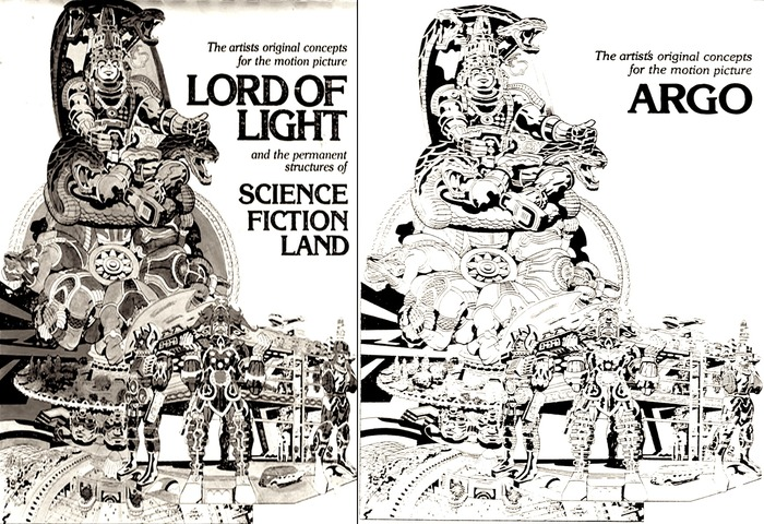 Original Lord of Light/Science Fiction Land Jack Kirby designs & same designs with an Argo cover after the CIA changed the name (from the CIA archives)