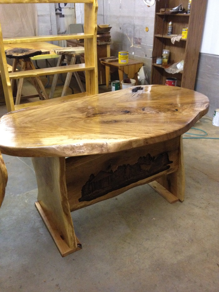Computer desk from a solid 300 year old oak slab