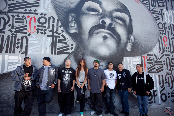 Crosstown team takes a break from filming to represent outside LA street aritst, Retna's, Pico Blvd. murial