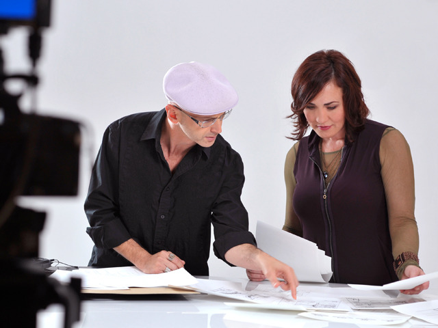 Michael Liebowitz & Suzanne Nason reviewing early sketches of Savino