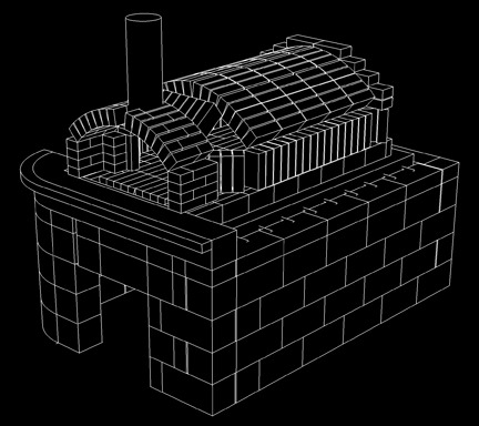 We designed our oven brick by brick in our 3-D modeling software to make sure it all fits together when we build it. This picture shows the brick innards of the oven which is then covered with a thick layer of insulation and a stucco facade.