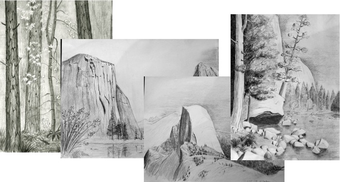 Copy of Set of 15 of Original Poulson Sketches of Yosemite.